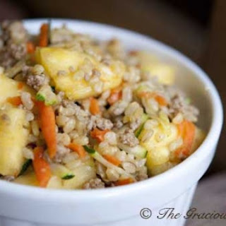 Clean Eating Curry Pineapple Turkey Rice Bowl.