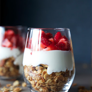 Fruit & Yogurt Breakfast Parfait with Honey Almond Granola.