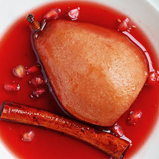 Baked Pears in Spiced Pomegranate Syrup.