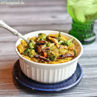 Curried Chicken Casserole with Broccoli, Rice and Mushrooms.