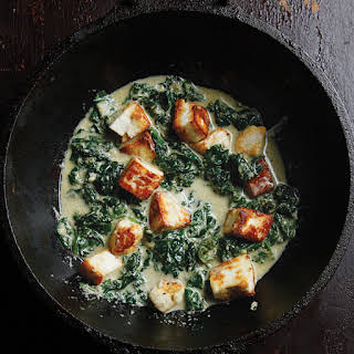 Saag Paneer (Spinach with Fresh Indian Cheese).