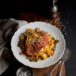 How To Make Butternut Tagliatelle With Crispy Bacon And Mushrooms.