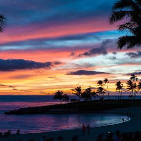 Rainbow Sunset by Larry Crawford - Landscapes Sunsets & Sunrises ( sunset, beach, landscape, hawaii,  )