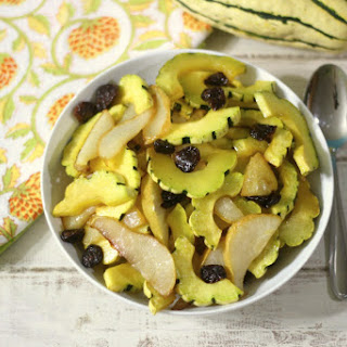 Sweet and Savory Roasted Delicata Squash and Pear.