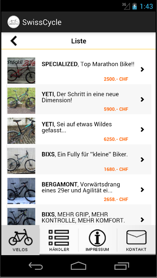 SwissCycle Schweizer Velobörse- screenshot