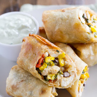 Southwestern Egg Rolls with Avocado Ranch Dipping Sauce.