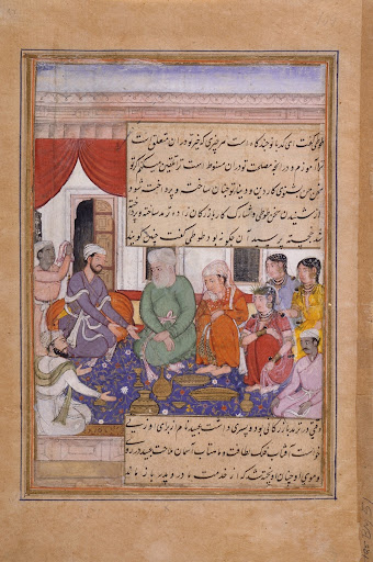 Marriage of Ubayd (?) (recto), Merchant and His Partner Conversing (verso), Folio from a Tutinama