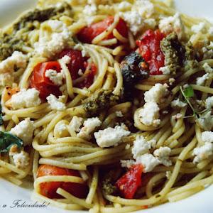 Spaghetti with Cherry Tomatoes and Basil Pesto