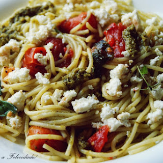 Spaghetti with Cherry Tomatoes and Basil Pesto.