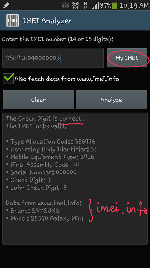 IMEI Analyzer- screenshot