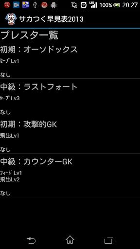 サカつく早見表2013