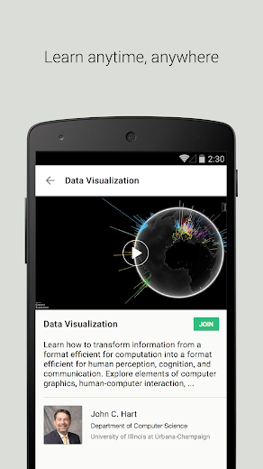 Screenshot 1 for Coursera's Android app'