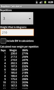 RepMax Calculator - screenshot thumbnail