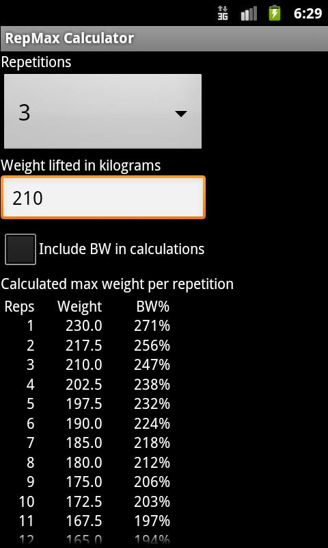 RepMax Calculator - screenshot