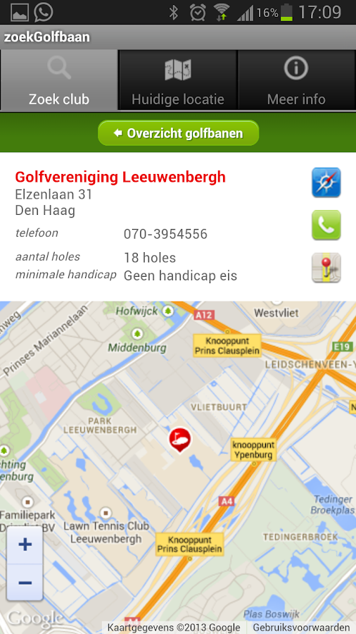zoekGolfbaan - screenshot