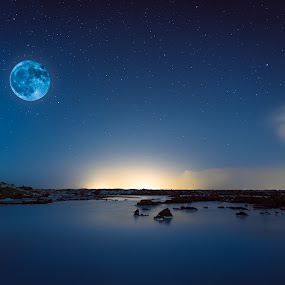 Blue Moon by Sigurður Brynjarsson - Landscapes Starscapes ( calm, moon, lagoon, bright, star, lake, shine, landscape, nightscape, distance, iceland, winter, sky, blue, snow, cloud, night, light, starscape )