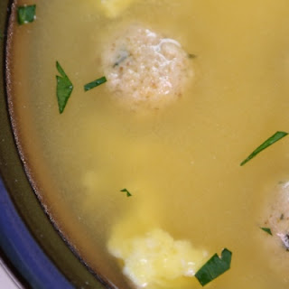 Mario Batali's Egg Drop Soup with Mini Matzoh Balls