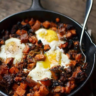 Sweet Potato Hash with Caramelized Onions, Sausage & Eggs.