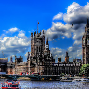 The Old Big Ben by Nachau Kirwan - Buildings & Architecture Public & Historical ( water, tower, thames, sunny, boats, big ben,  )