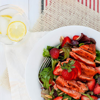 Grilled Salmon Salad with Fresh Strawberries.