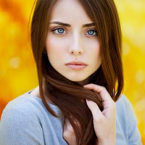 Nataly by Ann Nevreva - People Portraits of Women ( girl, woman, blue eyes, yellow, beauty, people, portrait )