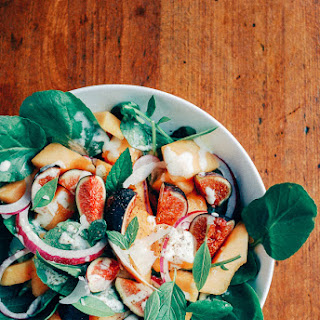 Fig and Cantaloupe Salad with Watercress and Creamy Garlic Lime Dressing