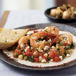 Shrimp with Lemon, Mint, and Goat Cheese.