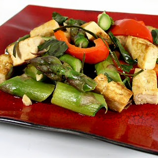 Thai-Style Basil Tofu and Asparagus.