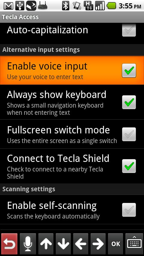 Tecla Access- screenshot