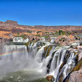 Shoshone Falls by Rachaelle Larsen - Landscapes Waterscapes ( idaho, shoshone falls, waterfall, rainbow, twin falls )