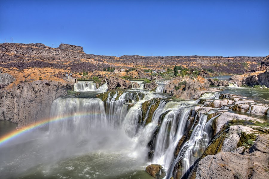 Shoshone Falls by Rachaelle Larsen - Landscapes Waterscapes ( idaho, shoshone falls, waterfall, rainbow, twin falls )