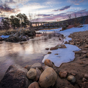 Moraine Park Bridge by David Andrus - Landscapes Waterscapes ( estes park, colorado, big thompson river, moraine park, rocky mountain national park )