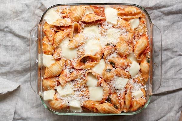 Baked Shells with Tomato and Mozzarella Recipe