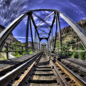 Bridges by Dave Zuhr - Travel Locations Railway ( fisheye, dzuhr.com, old, color, colors, train, object, bridge, landscape, d_zuhr, dzuhr )