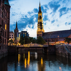 Blue Hamburg by Franco Beccari - Buildings & Architecture Public & Historical ( water, reflection, church, blue, blue hour, bell tower, reflections, hamburg,  )