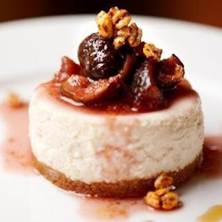 Candied Fig, Hazelnut and Orange Cheesecake with Port Sauce