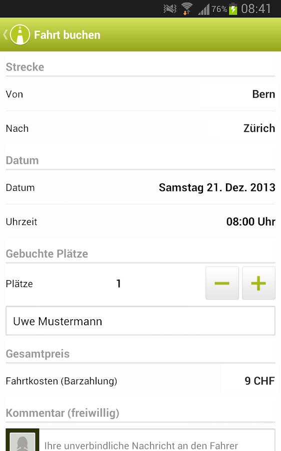 mitfahrgelegenheit.ch - screenshot