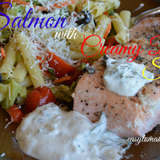 Fresh Salmon with Creamy Dill Sauce.