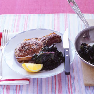 Sauteed Pork Chop with Wilted Kale
