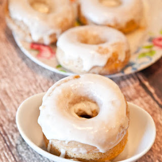 Baked Cinnamon Bun Donuts with Vanilla Cream Cheese Glaze