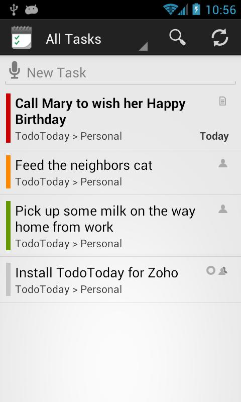 TodoToday Pro for Zoho - screenshot