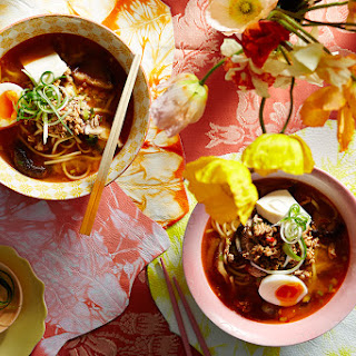 Spicy Pork And Miso Udon Noodle Soup.