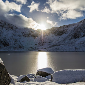 Llyn Idwal, Snowdonia Sun by Don Cardy - Landscapes Mountains & Hills (  )