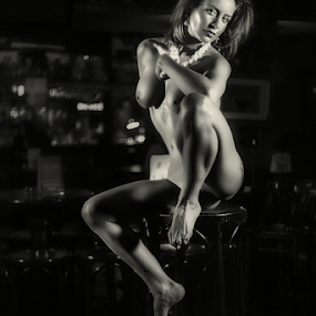 Night cat by Andrei Grososiu - Nudes & Boudoir Artistic Nude ( chair, nude, black and white, woman, night club, pub )