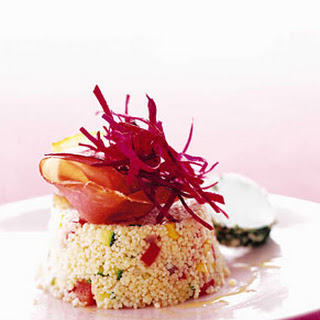 Vegetable Couscous, Goat Cheese, and Beets.