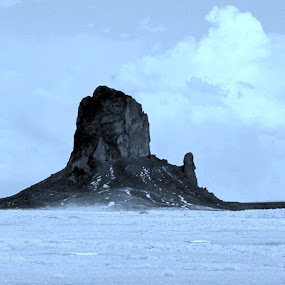 Took it to black and white then back to a blue tint, Winter in Monument Valley. The Man in The Mountain (West Mitten). by Jeffery Glenn Scism - Landscapes Mountains & Hills