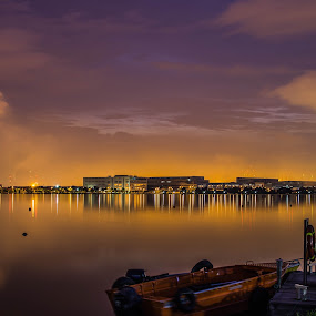 Pandan Reservoir, Singapore at dusk by Suriati Yacob - Landscapes Waterscapes
