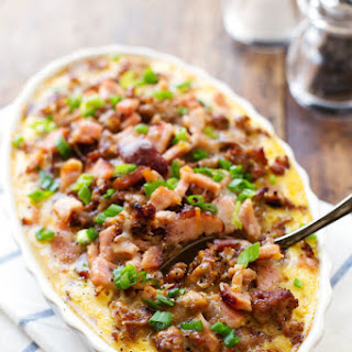 Ham and Sausage Hashbrown Egg Bake