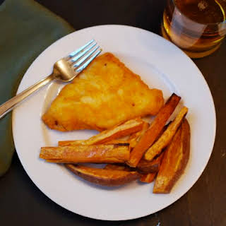 Beer Battered Cod with Sweet Potato Chips.