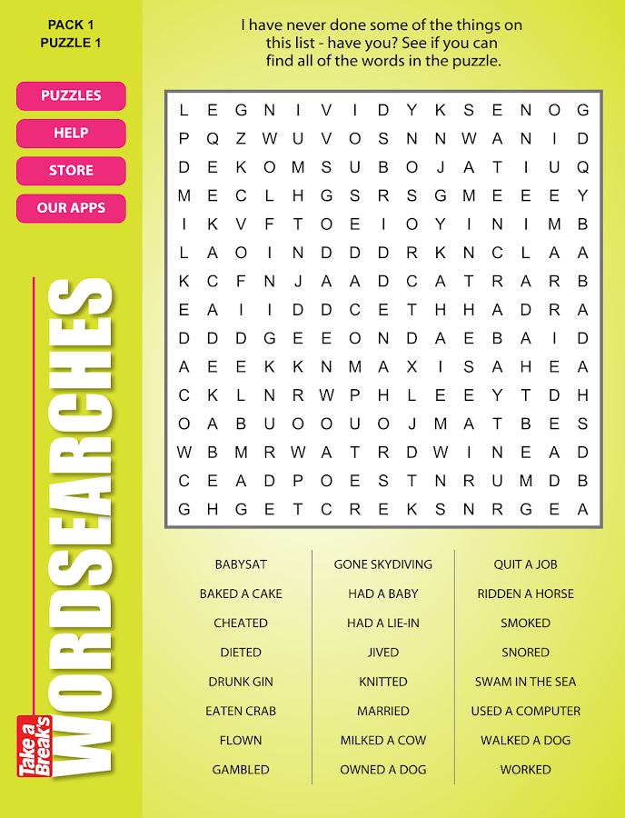 Take a Break's Wordsearches- screenshot